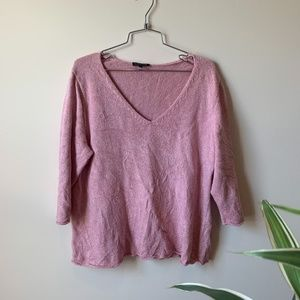 3/$25 Eileen Fisher Pink V Neck Knitted Sweater